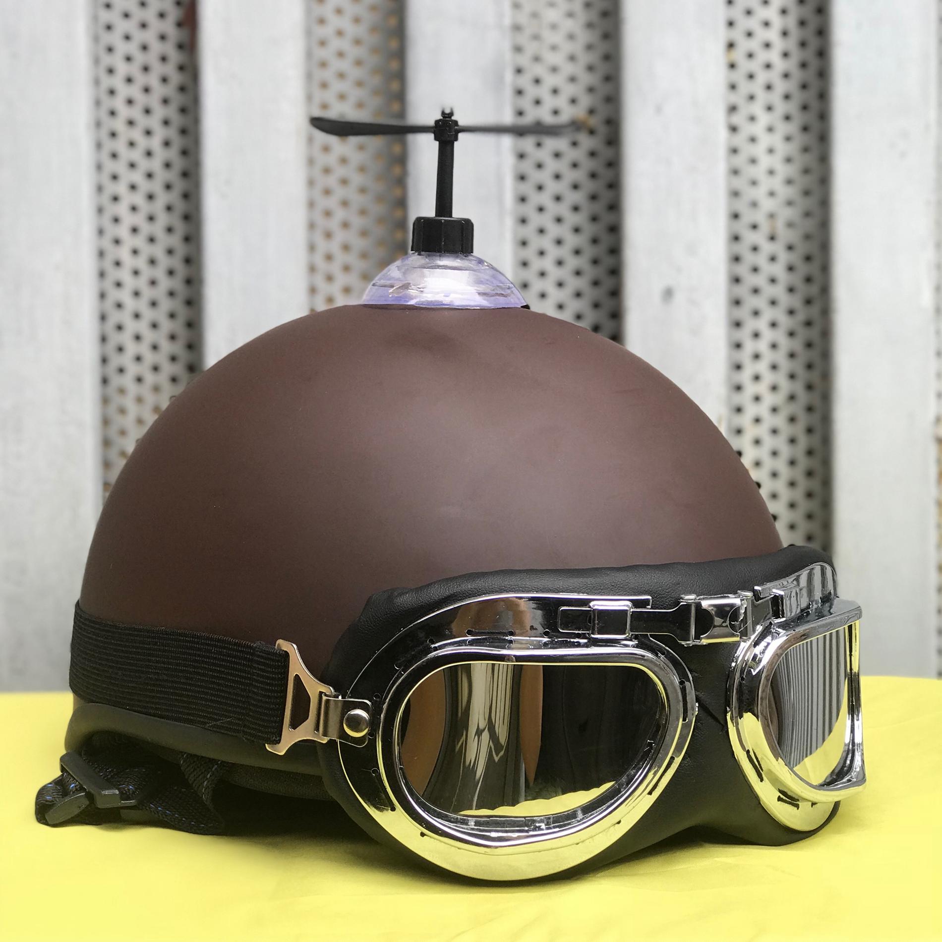 Combo Mũ Bảo Hiểm 1/2 Nửa Đầu Gấu Nâu + Chong chóng + Kính phi công chống bụi, chống nắng