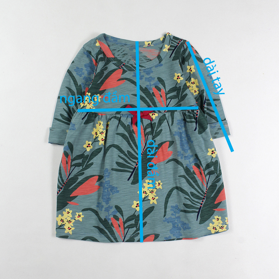 Đầm thun tay dài xanh đậm in hoa lá cho bé gái 1-5 tuổi từ 10 đến 20 kg 04879