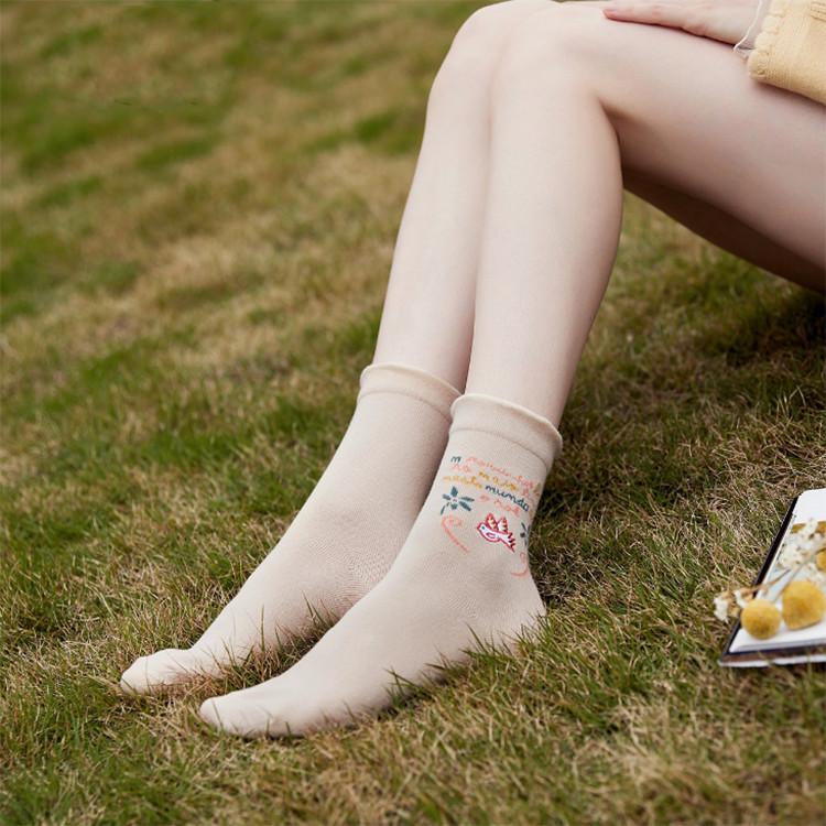 Bộ 3 Đôi Tất vớ nữ len gân cổ bèo hoa nhí cực chất dáng dài TN100
