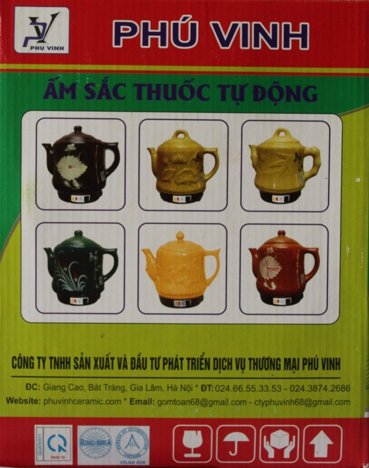 Ấm Siêu Sắc Thuốc Điện Tự Động Gốm Bát Tràng Bảo Long Phú Vinh PV-386 (3,2 lít) - Màu Ngẫu Nhiên - Hàng Chính Hãng