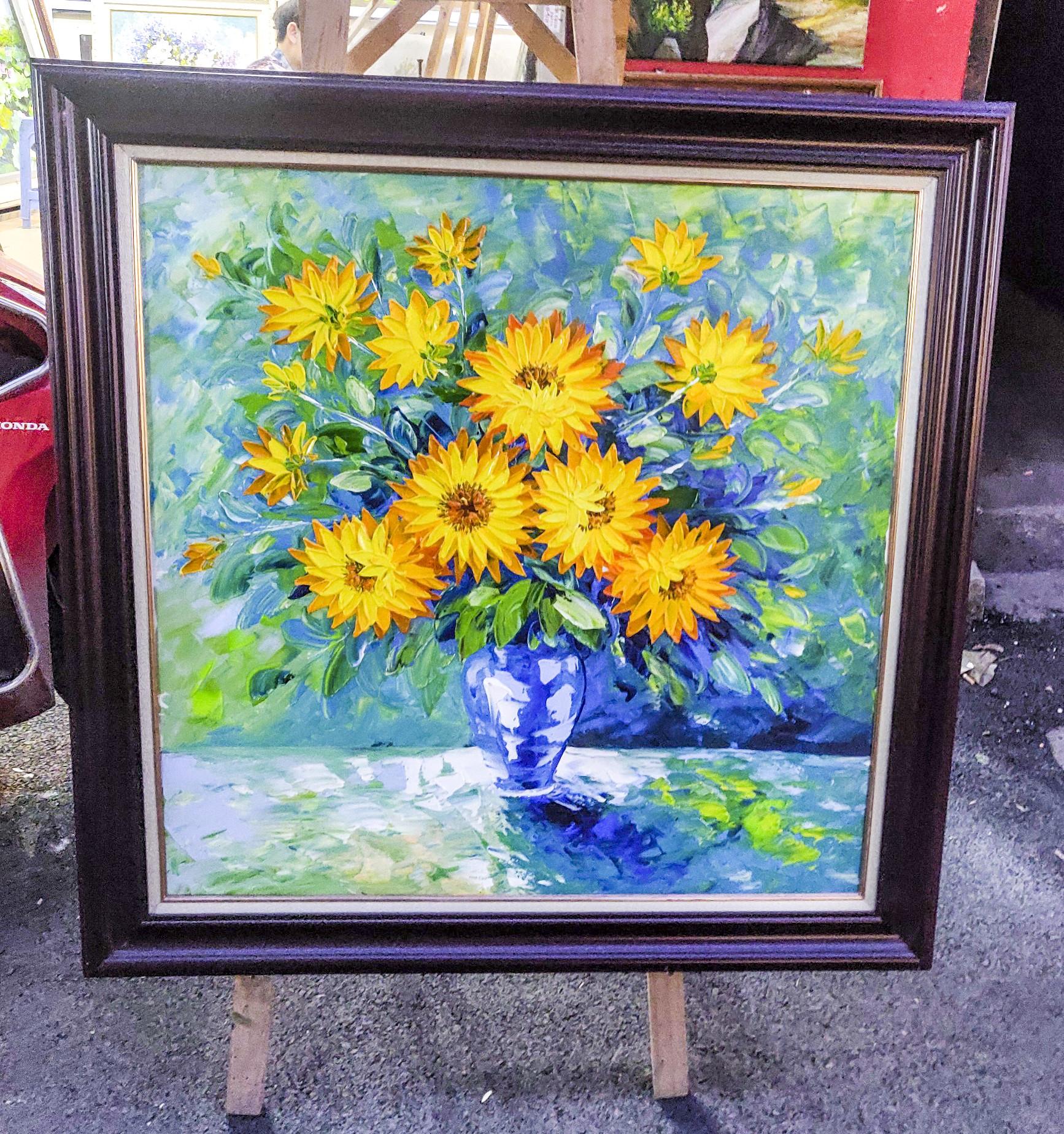 """Bộ tranh sơn dầu """" HOA CÚC VÀNG """" họa sỹ vẽ tay"""
