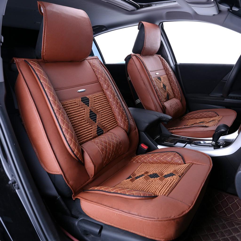 Bọc áo ghế da ô tô cao cấp bản tiêu chuẩn cho 5 chỗ ngồi - Kèm 2 gối tựa lưng ghế xe hơi đẳng cấp