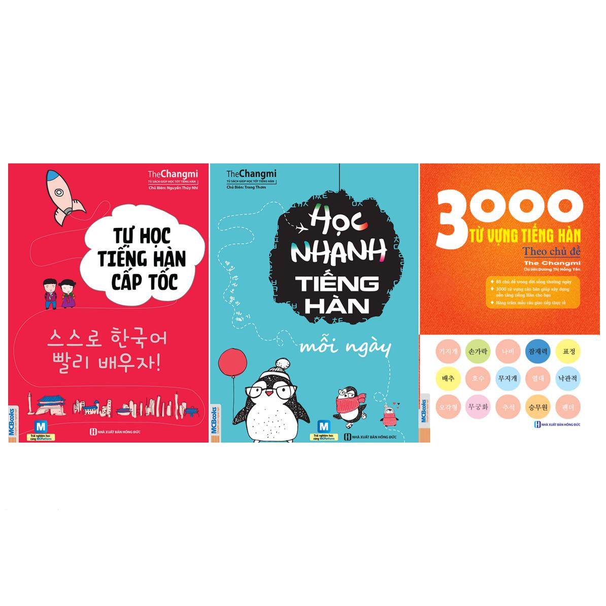Combo 2 Cuốn: Tự Học Tiếng Hàn Cấp Tốc, Học Nhanh Tiếng Hàn Mỗi Ngày Và 3000 Từ Vựng Tiếng Hàn Thông Dụng (Tặng 45 Cấu Trúc Tiếng Hàn Căn Bản Và Giáo Trình Tiếng Hàn Tổng Hợp)