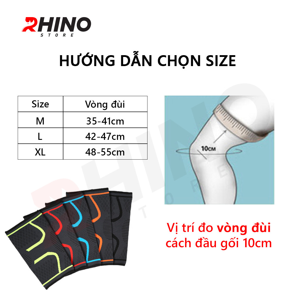 Băng bảo vệ đầu gối Rhino P7718 (1 Đôi) Bó gối thể thao Đai bảo vệ khớp gối - Hàng chính hãng dành cho cả nam và nữ