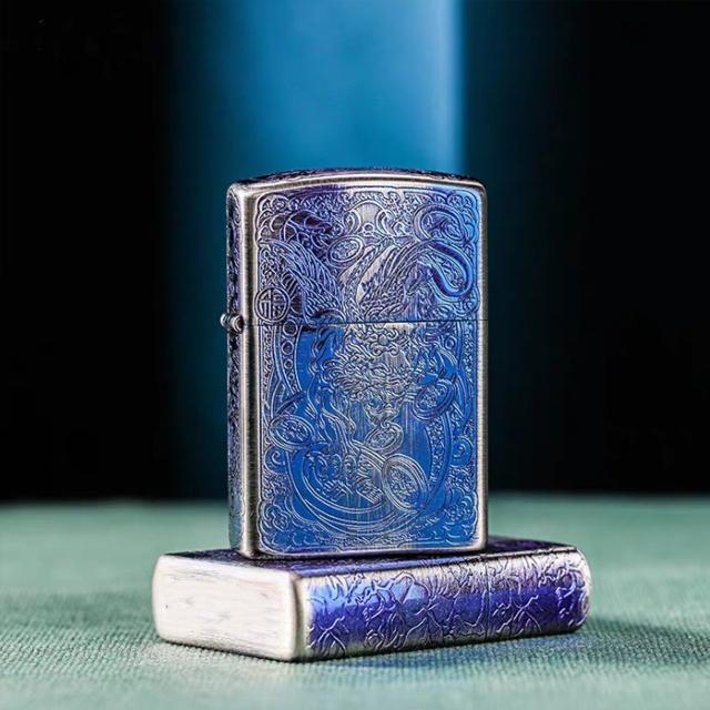 Hột Qụet Bật Lửa Xăng Đá 92018BZ Họa Tiết Rồng Đẹp Độc Lạ - Dùng Xăng Bấc Đá Cao Cấp