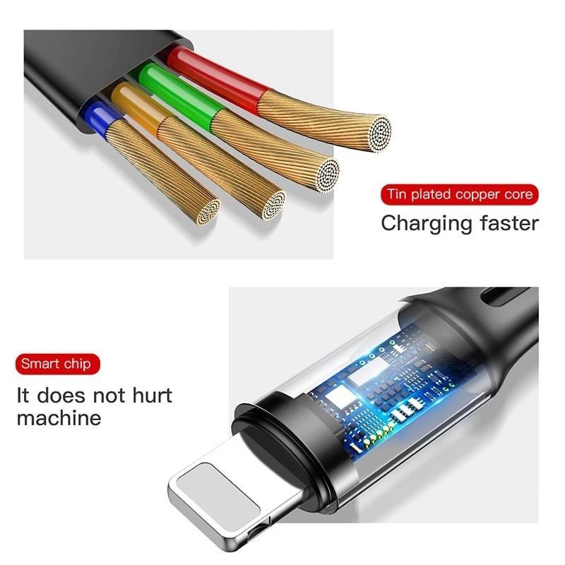 Cáp sạc dây rút  tích hợp 3 đầu Type C / Micro USB/ Lightning 3.5A- Baseus Little Octopus LV391- Hàng Chính Hãng