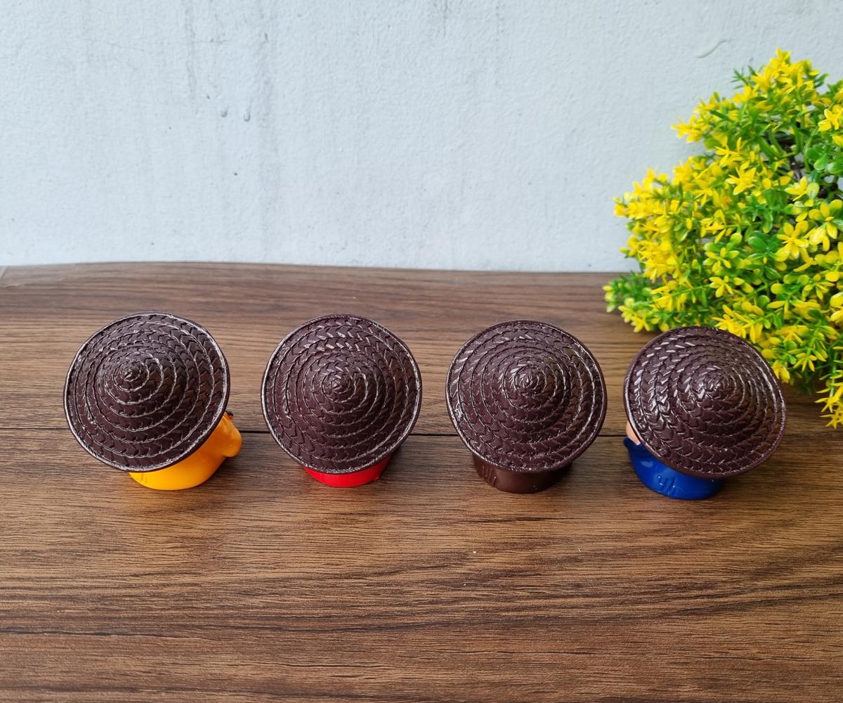 Bộ 04 chú tiểu Tứ Không - đeo chuỗi đội nón cối dễ thương (tặng kèm 10 xu vàng mini may mắn)