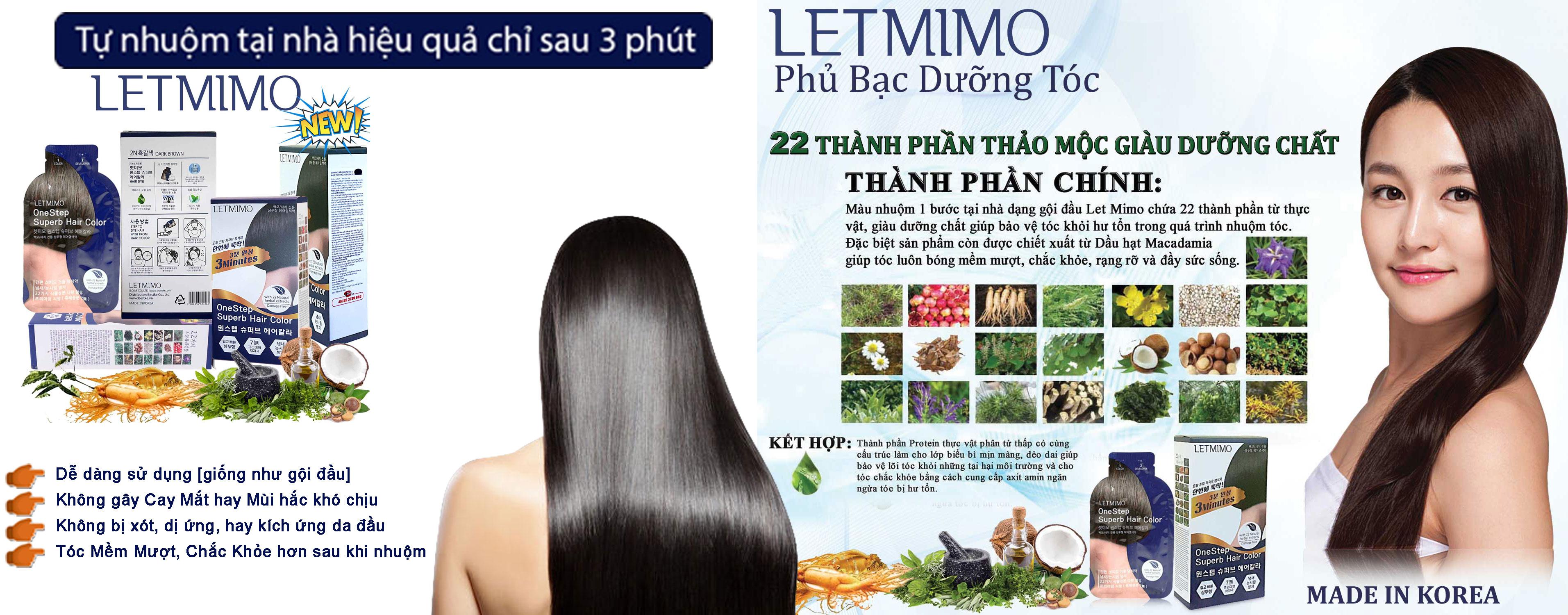 LETMIMO Thuốc Nhuộm tóc , Phủ Bạc Dưỡng tóc Thảo Mộc, 2N Màu Nâu Đen, Hộp 5 Gói, Mỗi gói 24g
