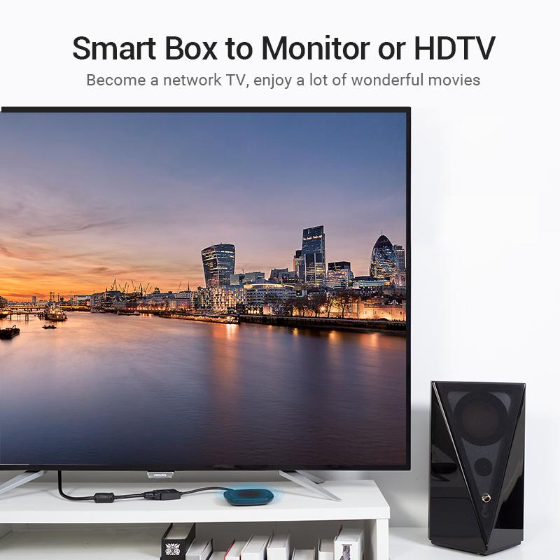 Cáp chuyển HDMI to VGA Vention ACPBB, hỗ trợ độ phân giải 1080P@60Hz - Hàng chính hãng