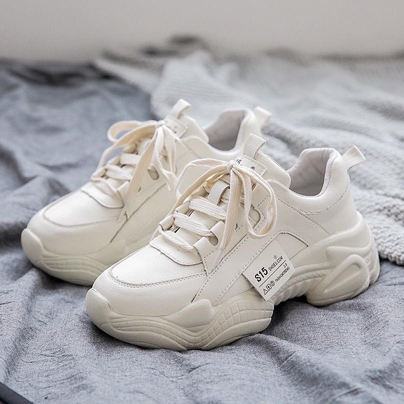 Giày thể thao nữ độn đế ulzzang trắng đi êm chân ( ảnh thật kèm)