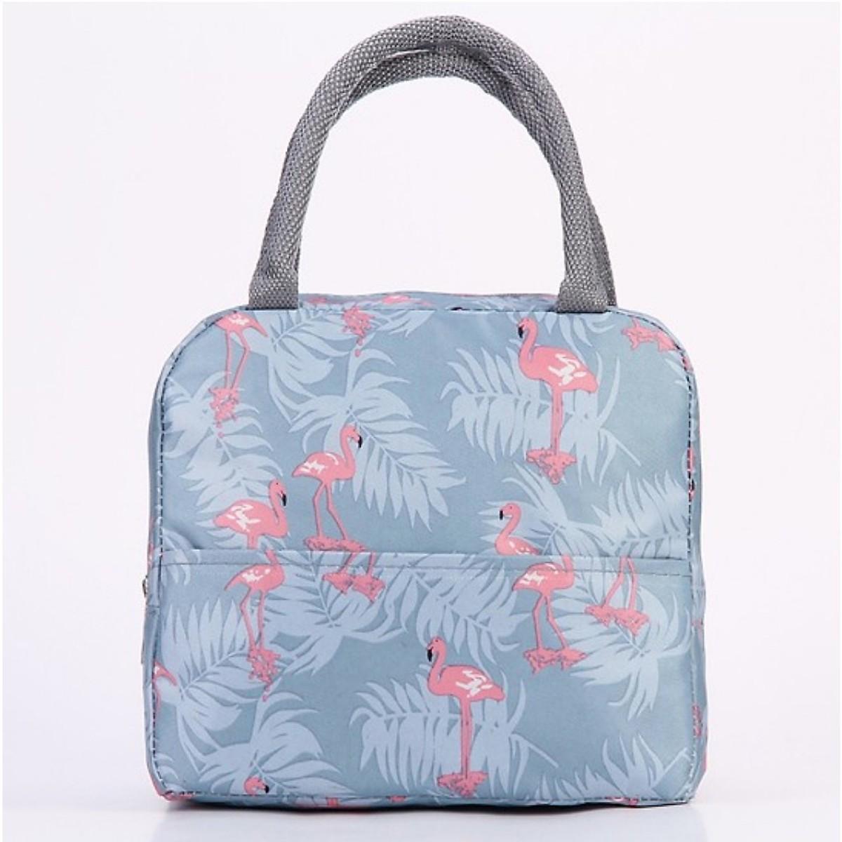 Túi vải đựng cơm bản ngang có lớp giấy bạc giữ nhiệt cực tốt - Tặng 01 túi đựng giầy
