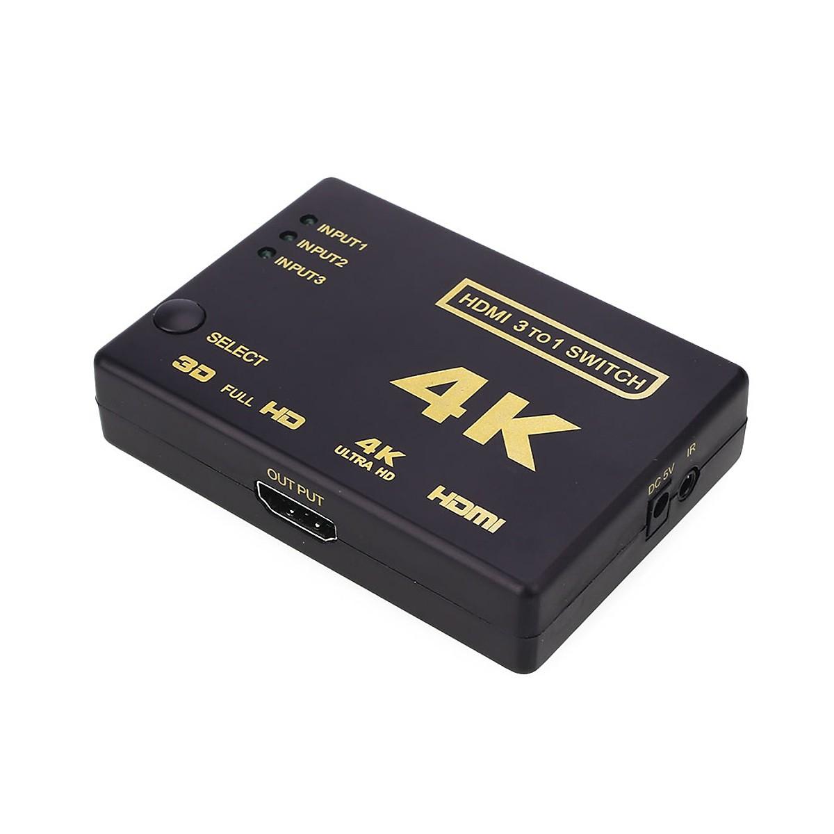 VINETTEAM Bộ Chuyển Đổi HDMI 4K 3 Đầu HDMI Vào Và 1 Đầu HDMI Ra Với Điều Khiển Từ Xa-Hàng Nhập Khẩu