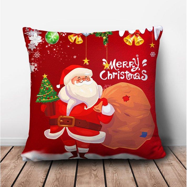 Gối ôm vuông ông già Noel (gồm vỏ và ruột)