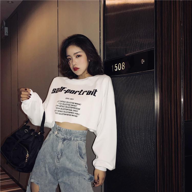 Áo Phông Ngắn Tay Cho Nữ, Áo Crop Top Tay Ngắn, Dáng Rộng, Phong Cách Hàn Quốc