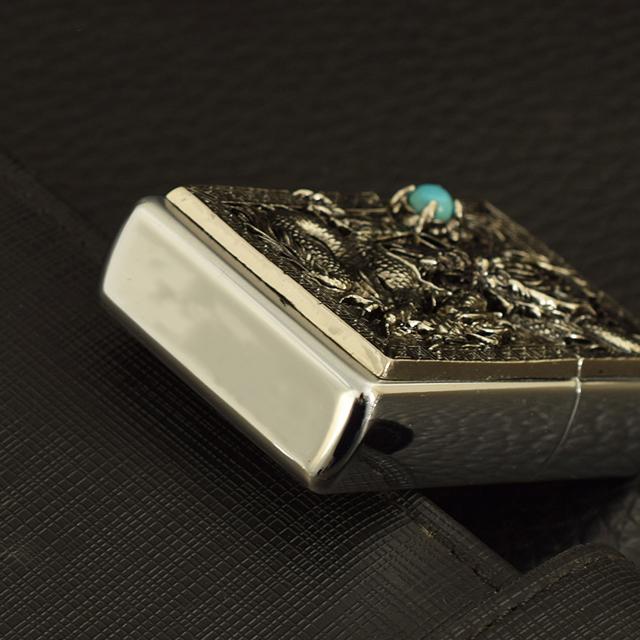 Hộp Qụet Bật Lửa Xăng CF1239 Thiết Kế Họa Tiết Rồng Ôm Ngọc Xanh Đẹp Độc Lạ - Dùng Xăng Bấc Đá Cao Cấp ( giao màu ngẫu nhiên )