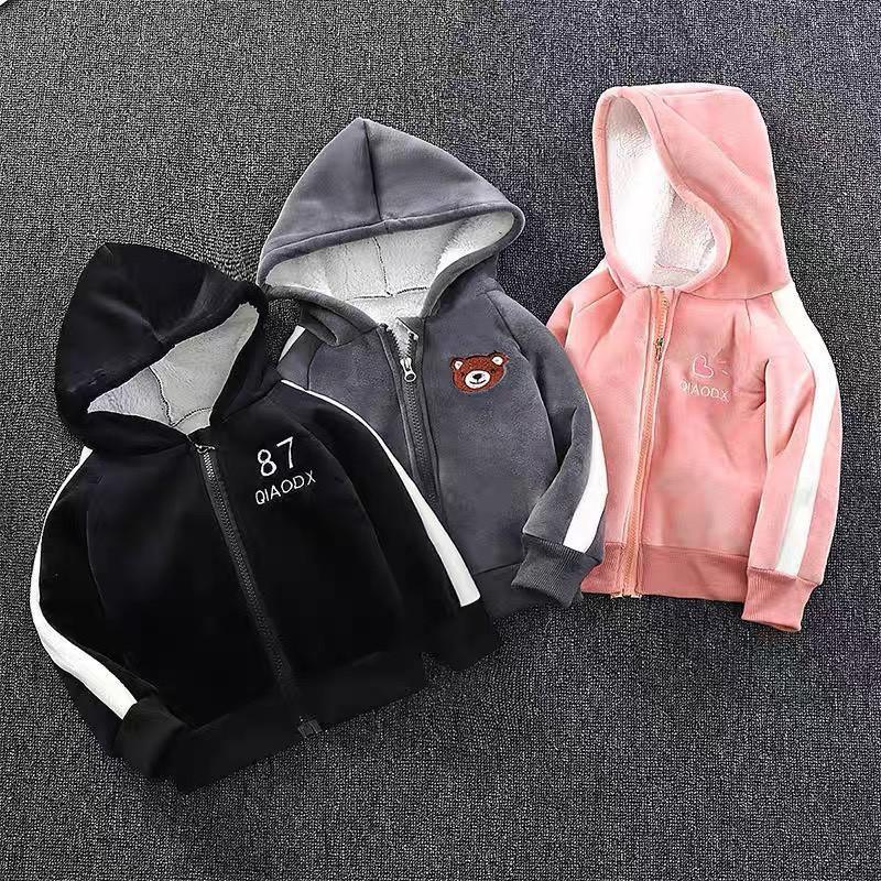 Áo khoác nỉ nhung lót lông Quảng Châu cao cấp cho bé trai bé gái 3-21kg