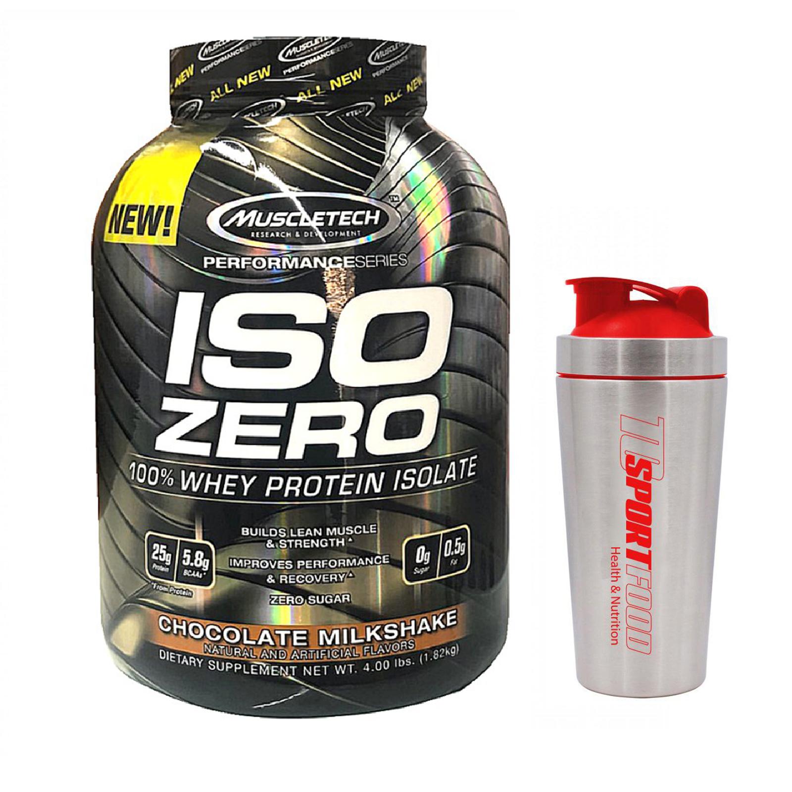 Combo Sữa tăng cơ ISO ZERO 100% Whey Protein Isolate của Muscle Tech hỗ trợ tăng cơ giảm cân đốt mỡ hương Chocolate hộp 4lbs & Bình INOX 739 ml (Màu Ngẫu Nhiên)