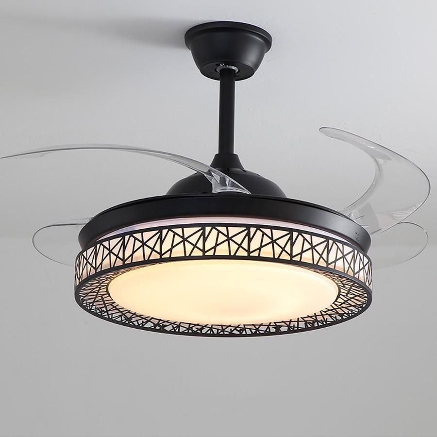 Đèn Quạt Trần Giấu Cánh Cụp Xòe Màu Đen sang trọng, Tinh Tế - Quạt trần đèn phòng ngủ, phòng khách, nhà ăn