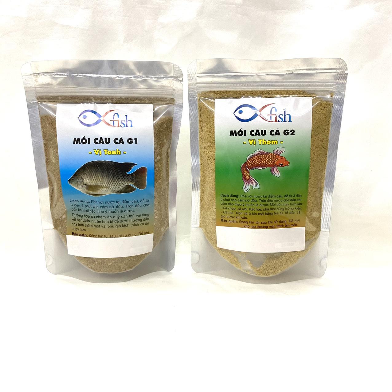 Combo 2 gói mồi câu cá vị thơm vị tanh câu cá chép, rô phi, trắm, trôi, tra, trê, chim,...