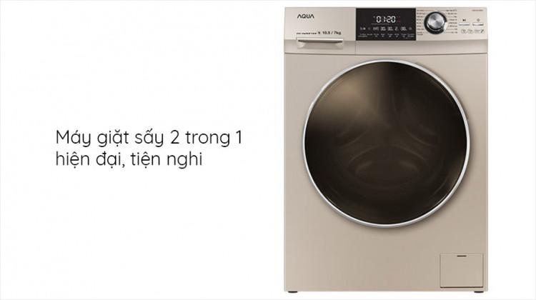 Máy giặt sấy AQUA AQD-DH1050C N, giặt 10.5kg, sấy 7kg,InverterThiết kế hiện đại, sang trọng