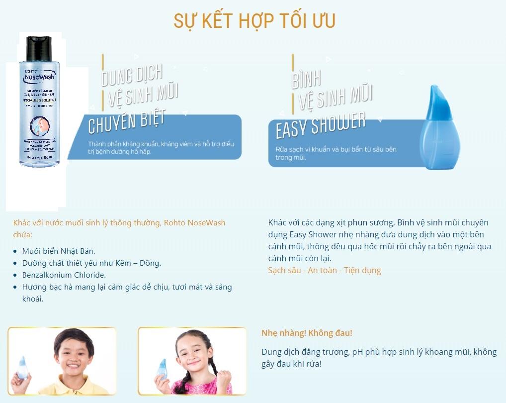 Bộ Tiện Dụng Vệ Sinh Mũi Rohto NoseWash Miniset: Bình Vệ Sinh Mũi Easy Shower + Bình Dung Dịch (150ml)