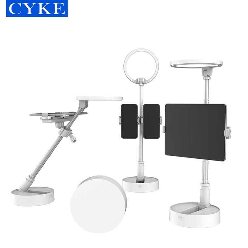 Đèn Led Fill Light không dây gấp gọn CYKE gồm giá đỡ 2 điện thoại 1 máy tính bảng, đèn Led để bàn hỗ trợ chiếu sáng cho video makeup làm đẹp, đèn fill light chiếu sáng cho góc máy cao- Hàng chính hãng