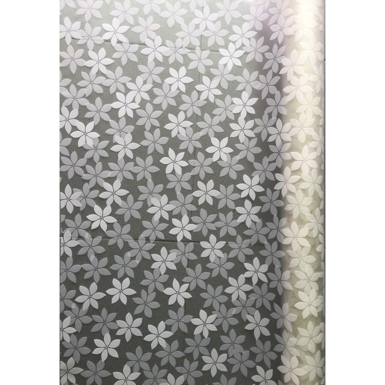 Decal dán kính mờ hoa 6 cánh trắng - có keo sẵn khổ rộng 0,9m dài 3m