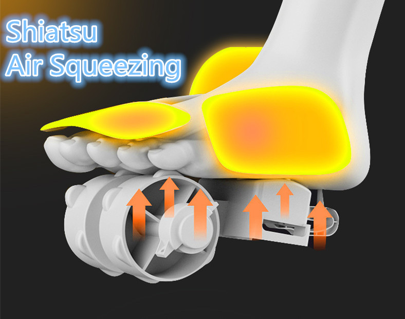 Máy Massage Chân (Lòng bàn chân, Chân, Ngón chân)   Liệu pháp mát xa từ áp suất không khí và con lăn nhiệt, Massage theo phương pháp Shiatsu Nhật Bản - Hàng nhập khẩu - Tặng kèm Máy massage cầm tay mini - Giao màu ngẫu nhiên