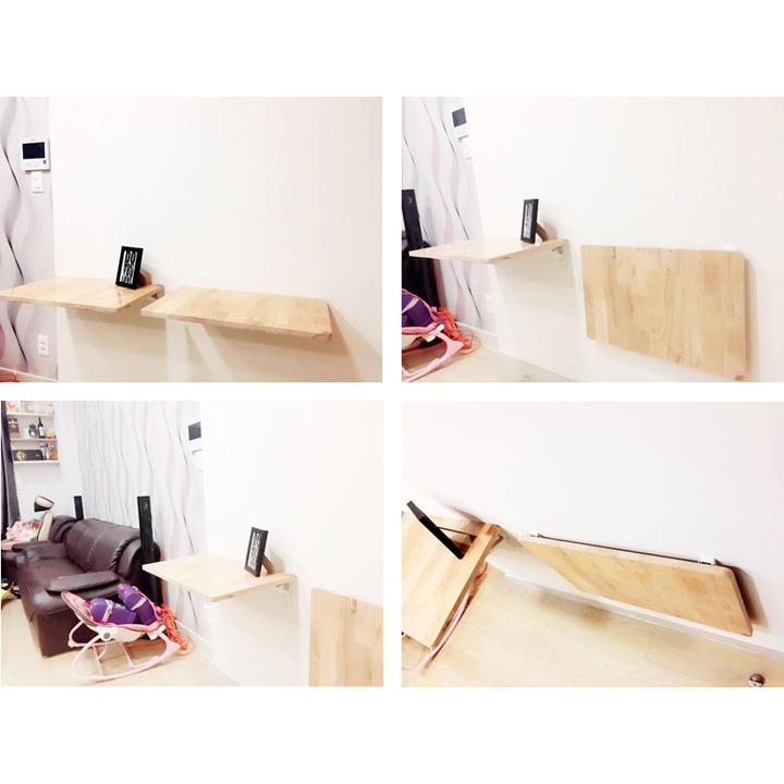 Bàn học gắn tường thông minh gỗ tự nhiên chịu lực 60kg