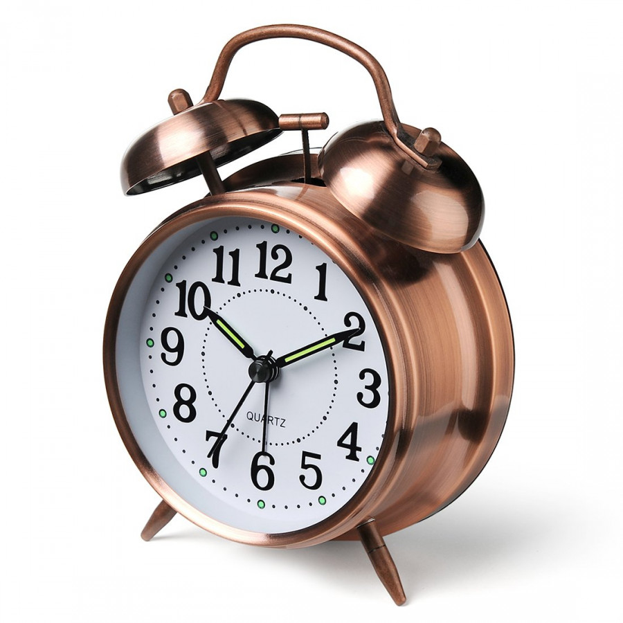 Đồng hồ để bàn báo thức mạ đồng cao cấp