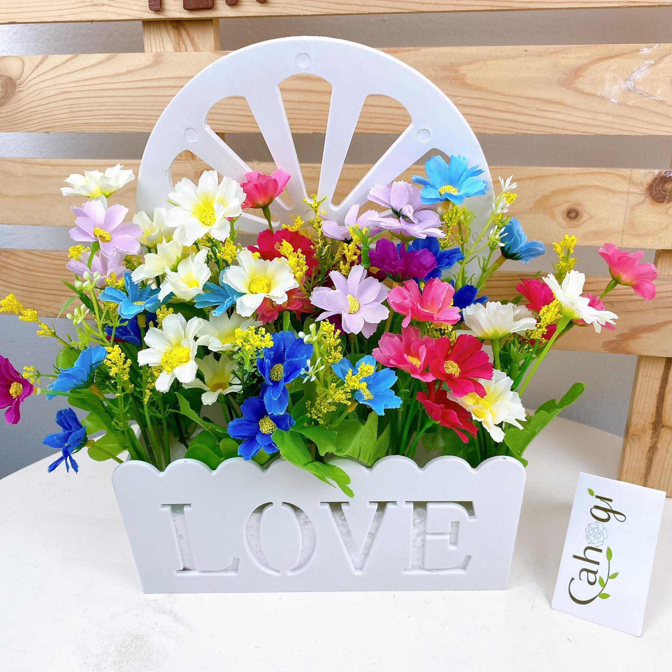 Giỏ Hoa Giả Love Đơn Kim Cắm Sẵn