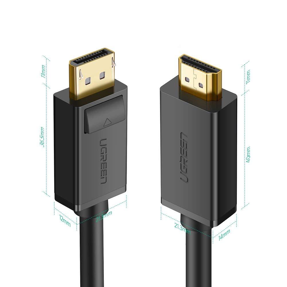 Dây cáp DisplayPort sang HDMI hỗ trợ phân giải 1920x1200 dài 1M UGREEN DP101 10238 - Hàng chính hãng