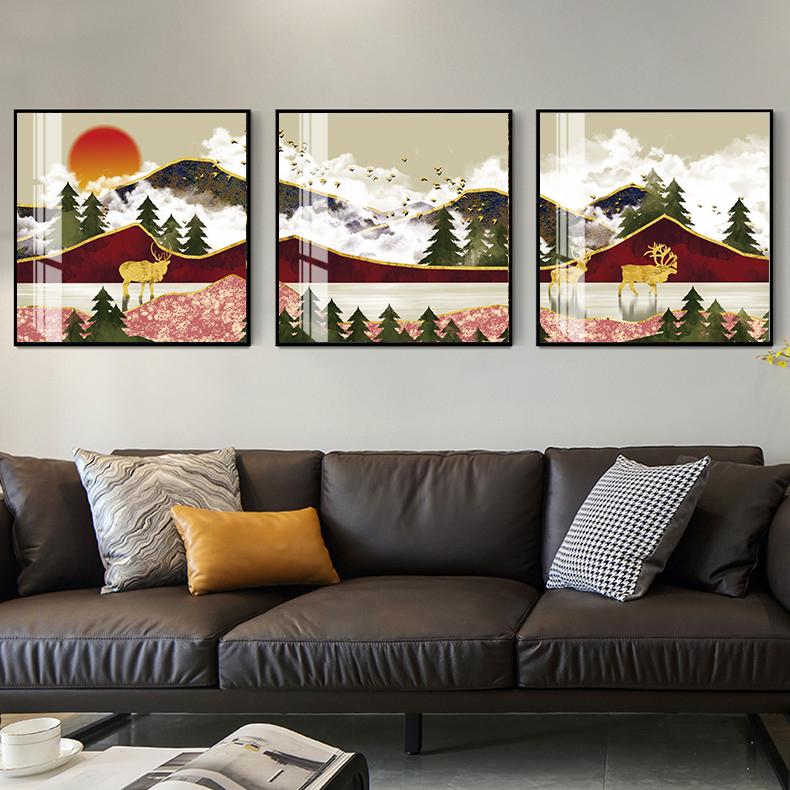 Tranh phong thuỷ Mica 3 bức Bình minh và những chú hươu vàng trừu tượng (Sơn Đầu Hỏa). Model: AZ3-0130. Khung nhôm hoặc Composite. Hình ảnh sắc nét, sang trọng, phù hợp nhiều không trang trí
