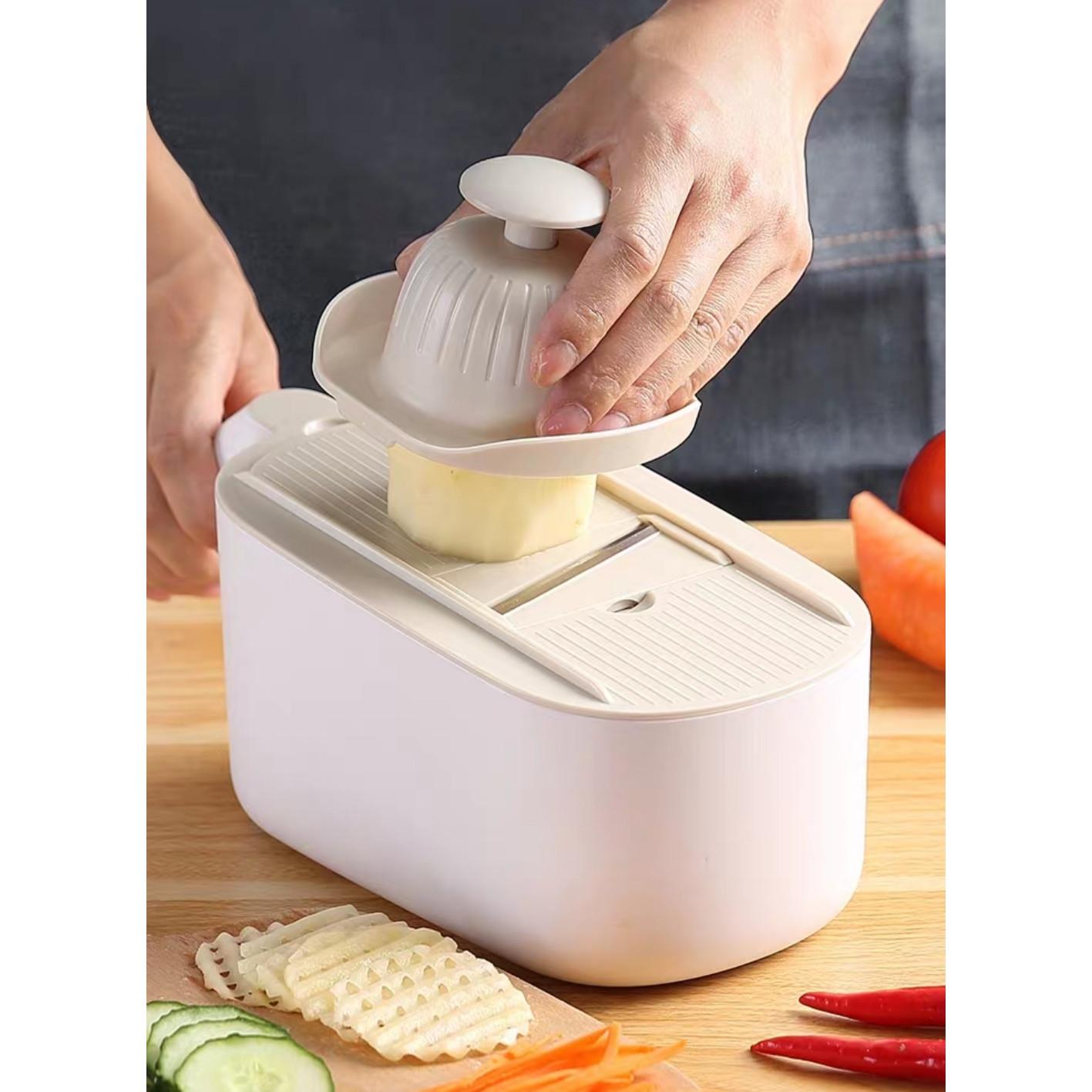 Dụng cụ rổ bào có chậu, nạo củ quả tiện lợi 3in1 Eco2021 tặng dụng cụ cắt khoai tây - màu ngẫu nhiên