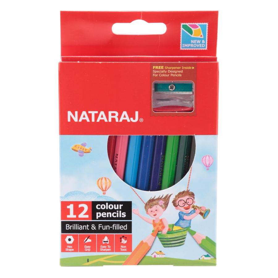 Hộp Bút Chì Ngắn 12 Màu NATARAJ NA-H12 + Tặng 1 Chuốt Chì