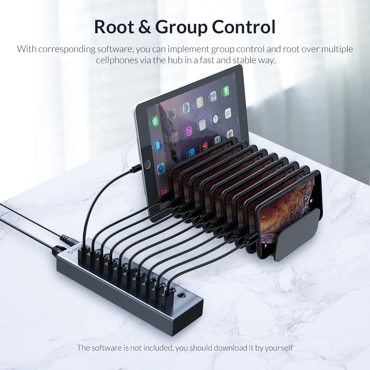 Bộ Chia USB HUB ORICO BT2U3-7AB-GY (Xám) 7 Cổng USB 3.0 Với Các Cổng Riêng Lẻ- Hàng Chính Hãng