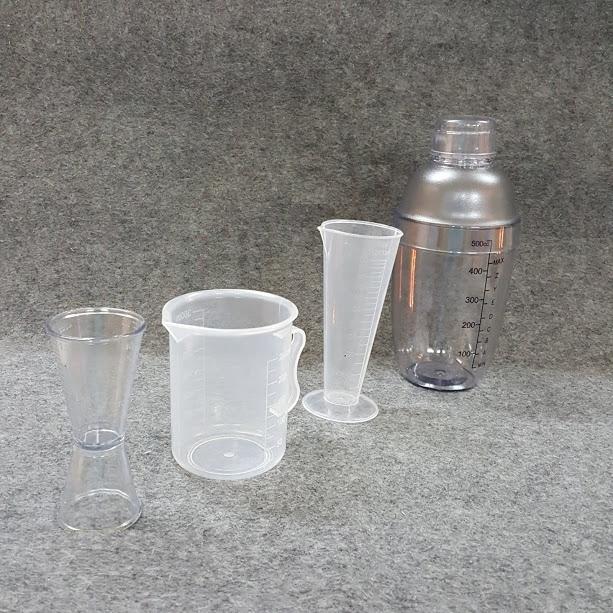 Combo 4 món pha chế quầy cà phê, sinh tố (Shaker 500ml In đậm)