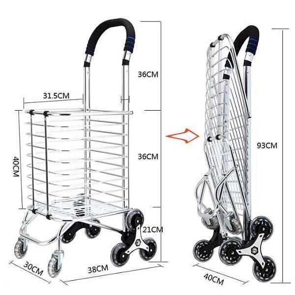 Xe kéo đi chợ 3 bánh leo cầu thang có bánh điều hướng siêu bền cao cấp 801 (tay nắm và bánh màu ngẫu nhiên)