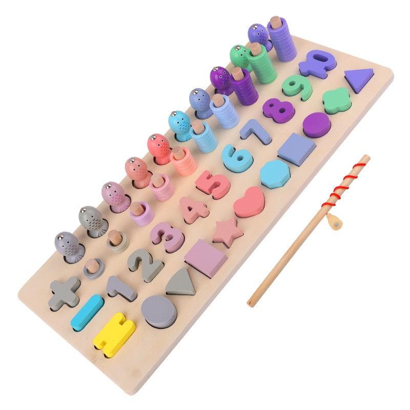 Đồ chơi trí tuệ - Đồ chơi giáo dục - Giáo cụ Montessori - câu cá, số, hình học, phép tính MK01