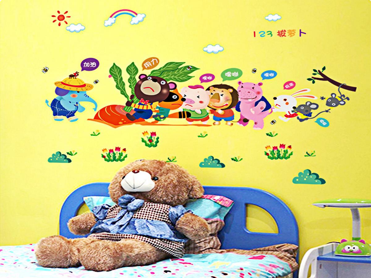 decal dán tường gấu nhổ cà rốt ngộ nghĩnh sk9037