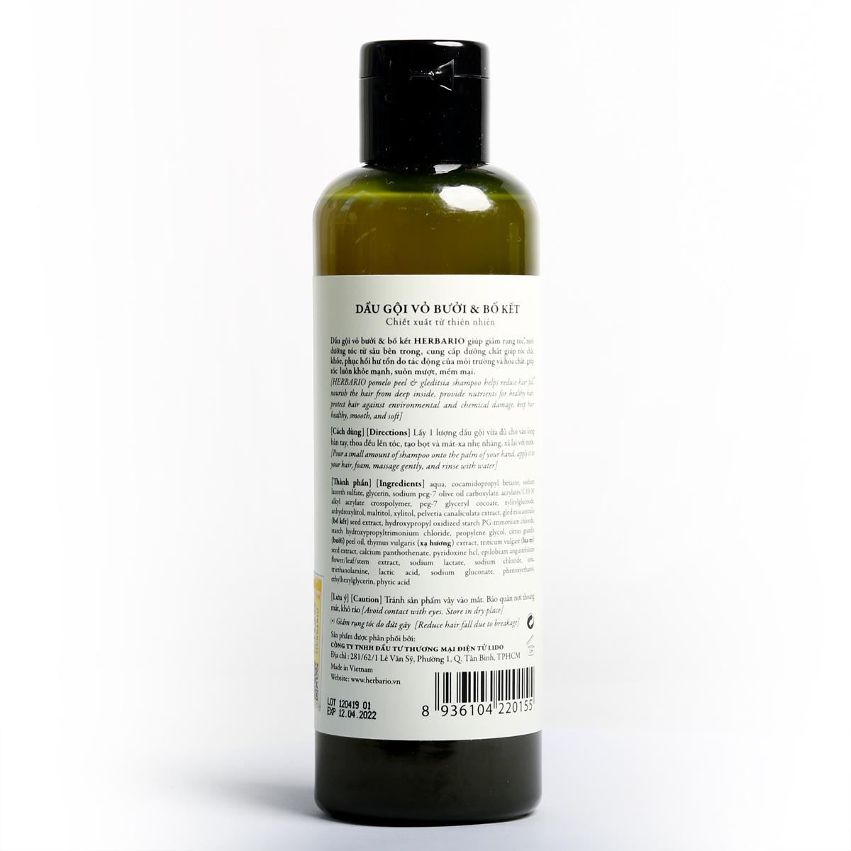 Bộ dầu gội bưởi bồ kết herbario (270ml) + Kem ủ tóc herbario (500ml)
