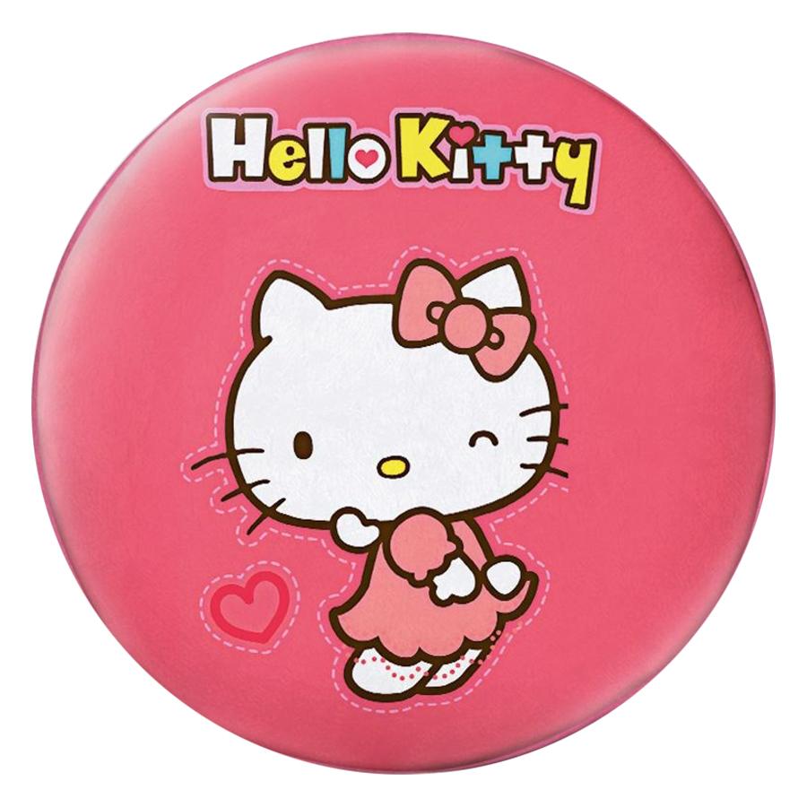 Gối Ôm Tròn Hello Kitty Nền Hồng Cam - GOCT012