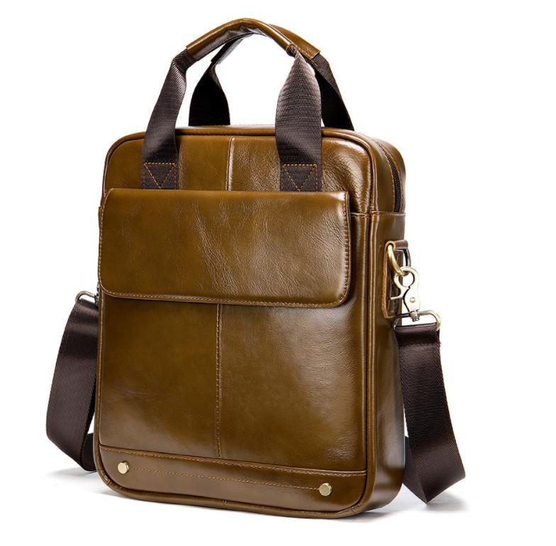 Túi đeo chéo nam da bò 100% cao cấp đựng ipad 30.5x26x6cm mã 8579NAU