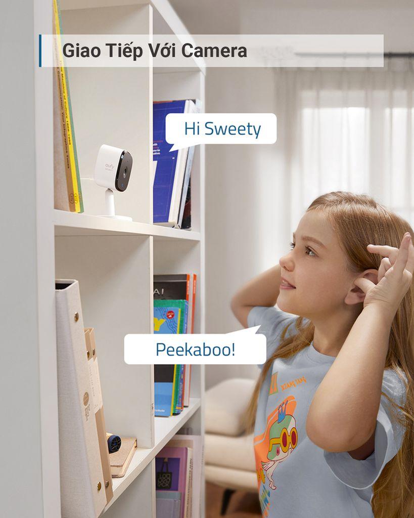 Camera Eufy Security Indoor Cam 2K Công nghệ AI Xoay 360 độ Đàm thoại 2 chiều - Hàng Chính Hãng