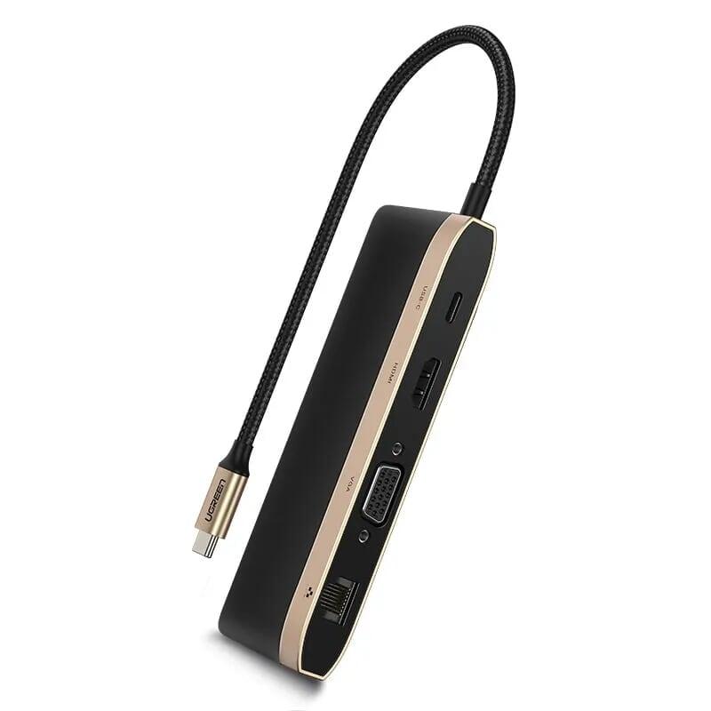 Cáp Chuyển Đổi USB Type-C Sang Hdmi + Vga + 3*USB 3.0 Ports + Gigabit Lan + SD/TF + Type-C PD dài 20cm màu Gray Gold Ugreen TC50988CM221 Hàng chính hãng.