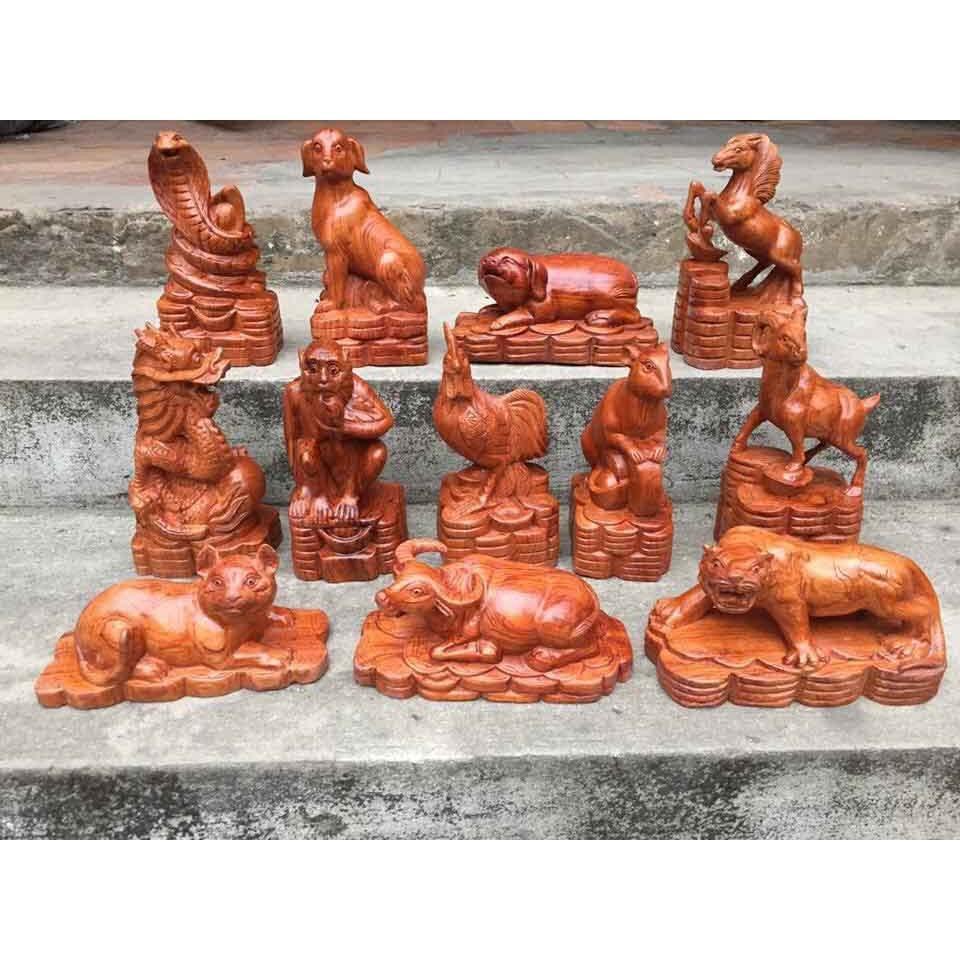 Bộ tượng gỗ 12 con giáp