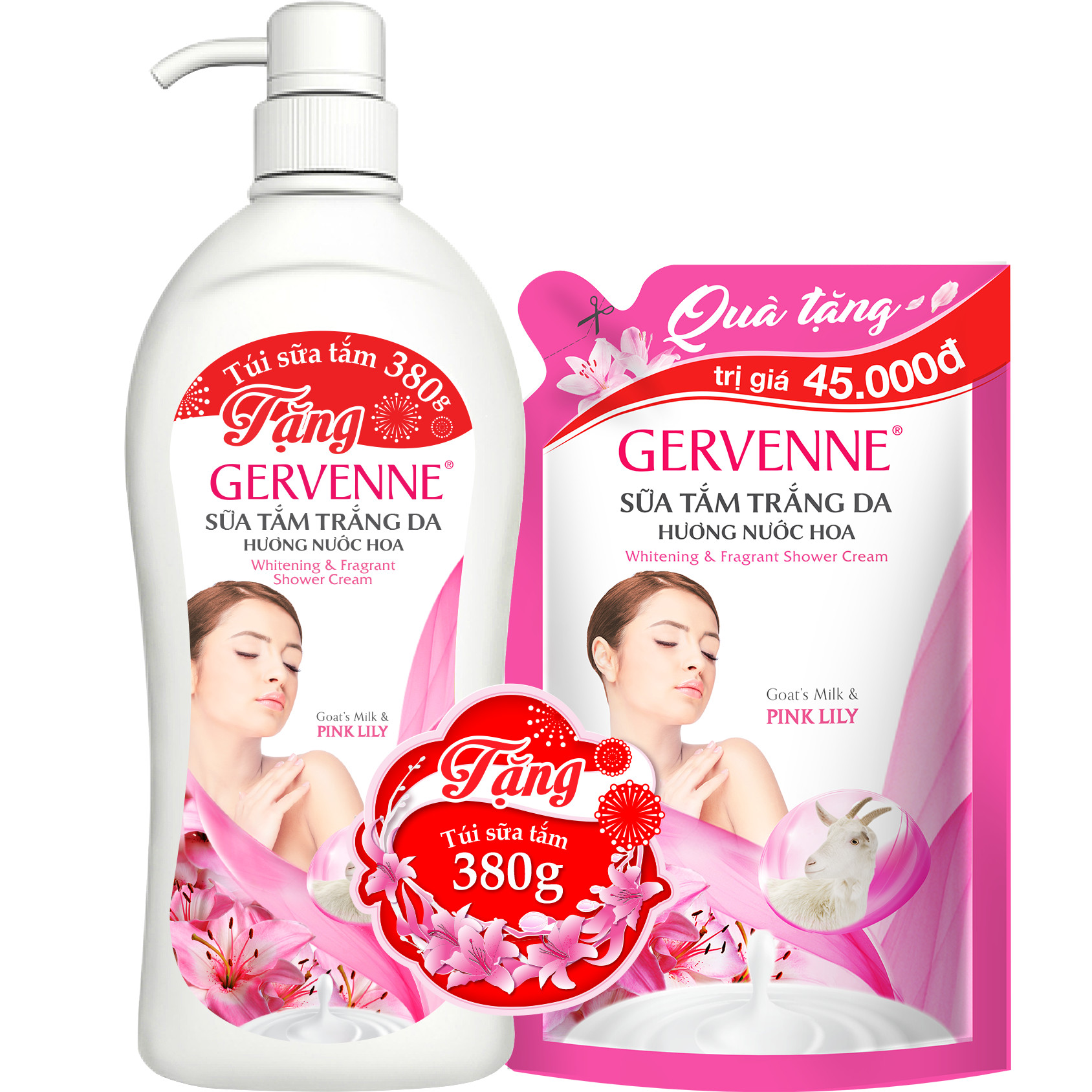 Gervenne Sữa tắm trắng da Pink Lily 900gr - TẶNG túi sữa tắm 380gr