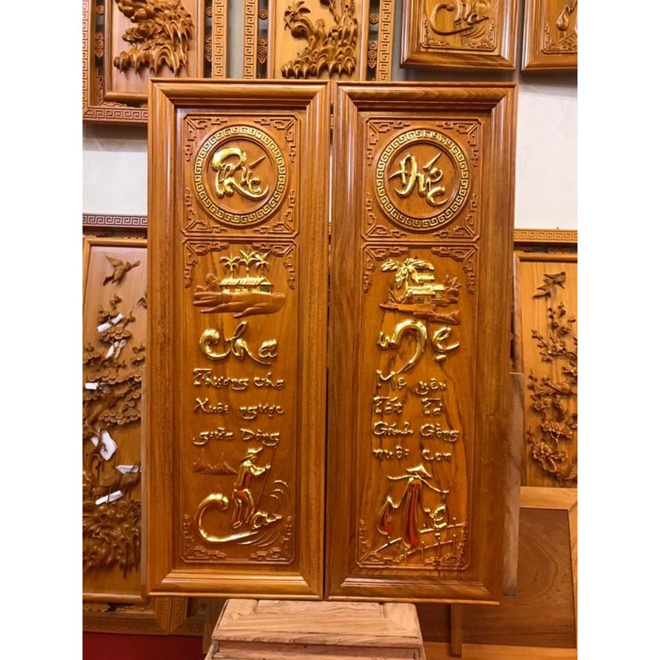 Tranh gỗ Cha Mẹ - Gỗ Gõ Đỏ nguyên khối, đục trạm bằng tay tỉ mỉ sắc nét từng góc cạnh