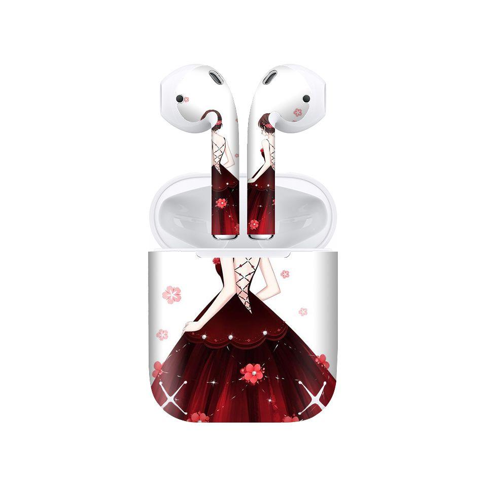 Miếng dán skin chống bẩn cho tai nghe AirPods in hình Cô gái váy đỏ - Gin011 (bản không dây 1 và 2)