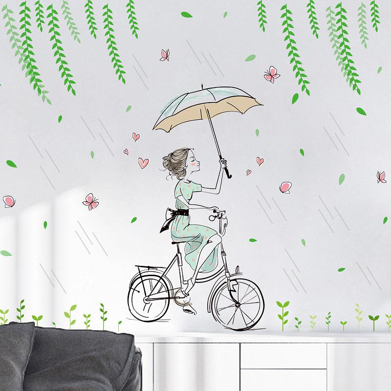 Decal dán tường cô gái che ô trong mưa cho bé ZOOYOO XL7220